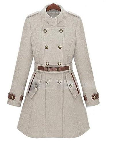 Moda Oficina Mujer Cuello Doble Breasted bolsillo manga larga Mujer Overcoat