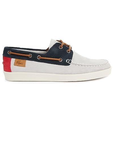6efb7f3799fb Lacoste - Boat Shoes - Men - Kellson Tricolour Grey Red Blue Nubuck Boat