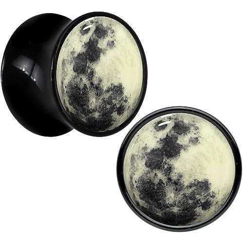 BodyCandy Negro Acrílico Luna brilla en la oscuridad Dilatador Par 13mm: Amazon.es: Joyería