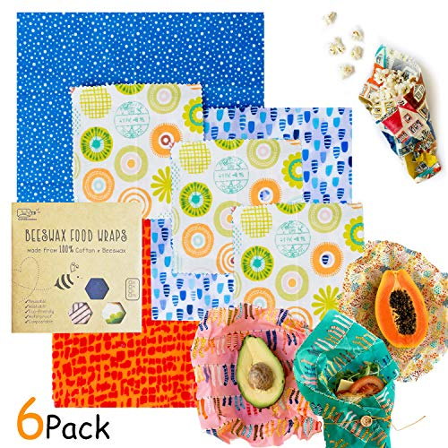 (Clever Changes Organic Reusable Beeswax Food Wrap - 6 Pieces Assorted Size Variety Pack - Great For Storing Sandwiches And Vegetables - BPA, PVC, Chemical Free - Bees Paper Wrap Food Storage)