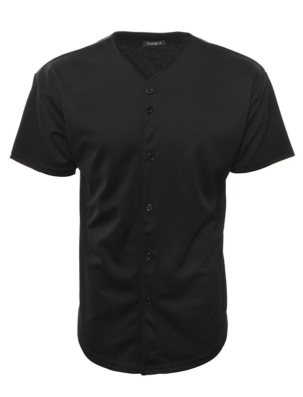 ベースボール ジャージーTシャツ プレーン ボタンダウン スポーツT B06XDTK3K7 Small|オールブラック オールブラック Small