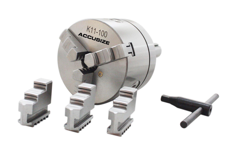 AccusizeTools - 4''/100mm R8 Precision Lathe Chuck, 3-Jaw Self Centering Scroll, 0225-0237 Accusize Co. Ltd.