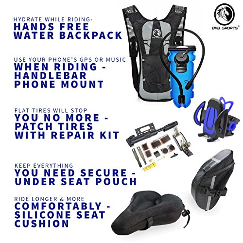 Bike Accessories & Cycling Equipment Set : Bicycle Phone Handlebar Mount (iPhone, Samsung, Etc.), Water Backpack, Bicycles Seats Cushion Cover, Under Seat Pouch, Bikes Repair Tool Kit, Mini Pump by BvBbicycle (Image #7)