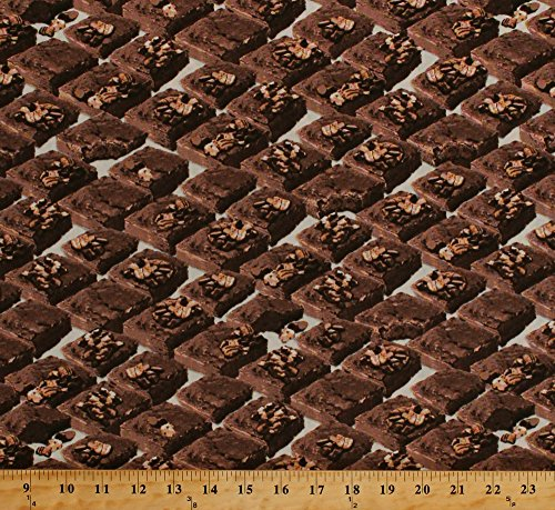 Cotton In the Mix Brownies Squares Chocolate Dessert Cream Cotton Fabric Print by the Yard (37470) ()