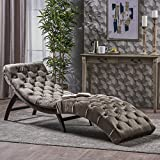 Garamond Tufted Grey Velvet Chaise Lounge