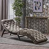 Garamond Tufted Grey Velvet Chaise Lounge