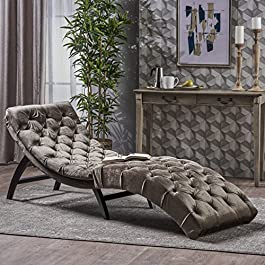 Christopher Knight Home 302203 Garamond Tufted Velvet Chaise Lounge, Grey/Dark Brown