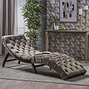 Great Deal Furniture 302203 Garamond Tufted Grey Velvet Chaise Lounge, Dark Brown