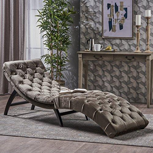 - Garamond Tufted Grey Velvet Chaise Lounge