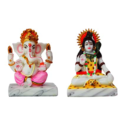 Buy Fabzone Combo of 2 Lord Ganesha and Shiva Marble Idol