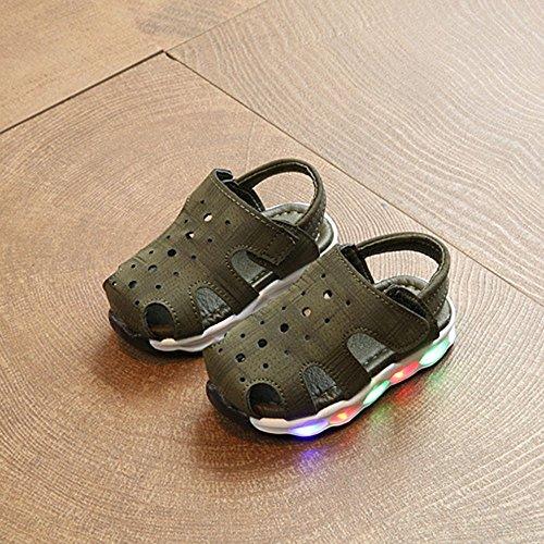 DingLong Kinderschuhe Baby Sandalen Geschlossene Unisex LED Jungen Armeegrün Mädchen OvxOT6