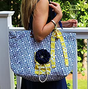 Vivajennz Picnic Wine Tote (Blue Greek and Yellow)
