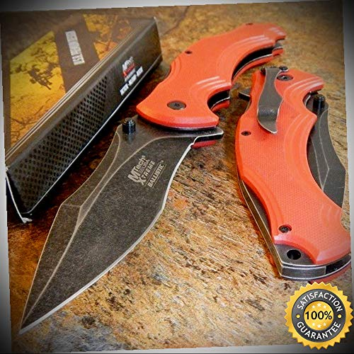- MTech Xtreme RED G10 Spring Assisted Opening Stone Wash Folding Pocket Knife - outdoor for camping hunting
