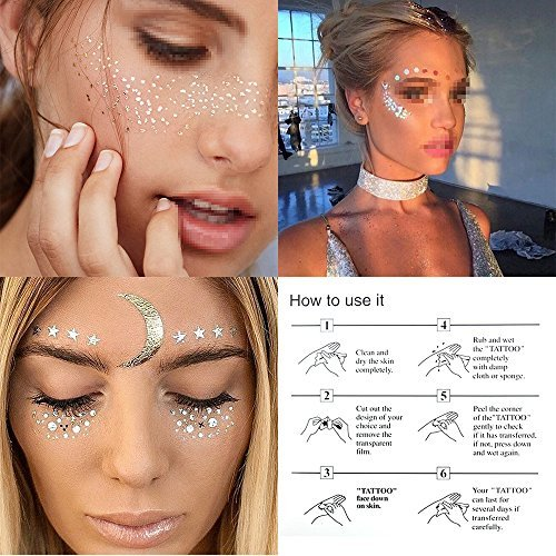 Hatcher lee 3 Sheets Face Tattoo Sticker Metallic Shiny Temporary Water Transfer Tattoo for Professional Make Up Dancer Costume Parties, Shows Gold Glitter (3 ()