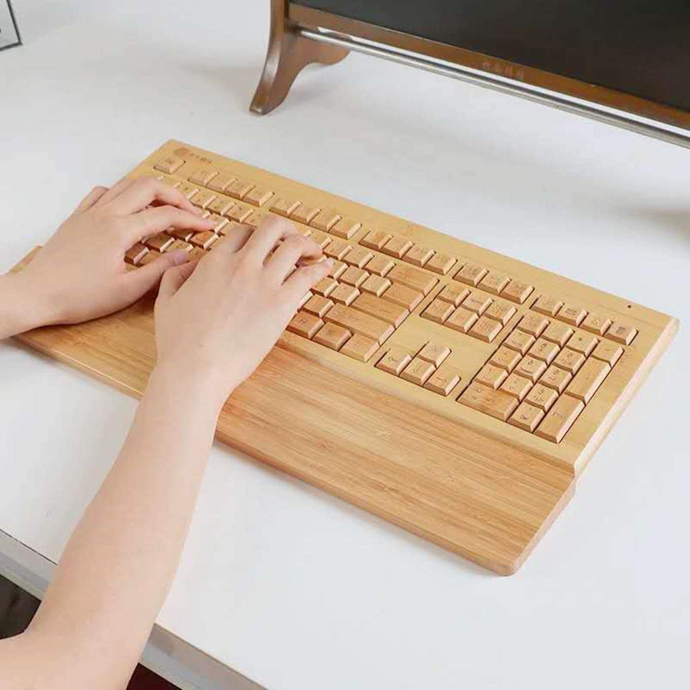 Bamboo Painted Keyboard WristPalm Support for office or Gaming  use,