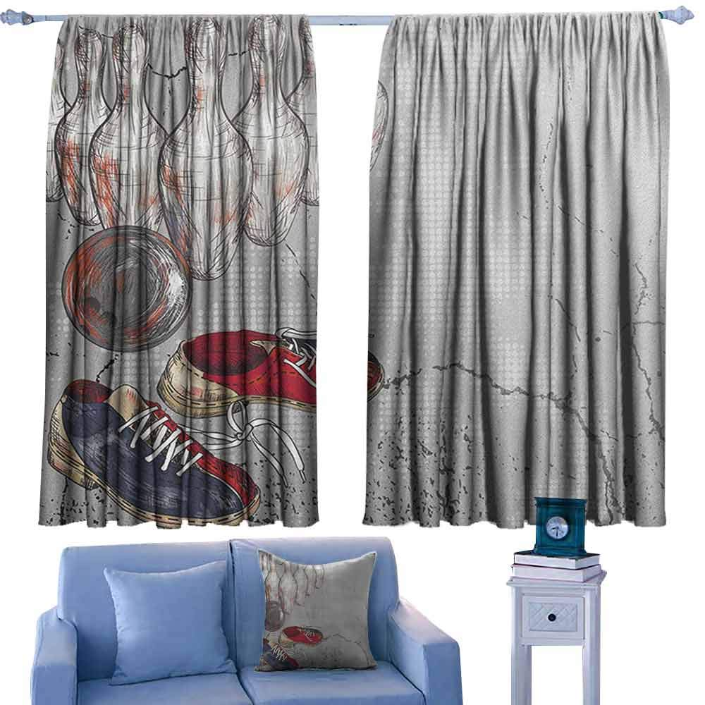 ParadiseDecor Bowling Party Rod Curtains Bowling Shoes Pins and Ball in Artistic Grunge Style Print,Backout Curtains for Kids Iving Room,W72 x L84 Inch