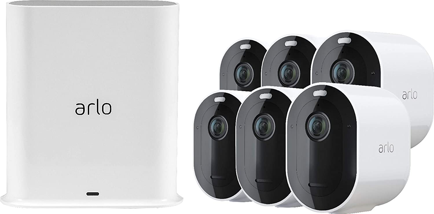 Arlo Pro 3 Spotlight Camera | 6 Camera Security System | Wire-Free, 2K Video & HDR | Color Night Vision, 2-Way Audio, 6-Month Battery Life, Motion Activated, 160° View | Works with Alexa | White