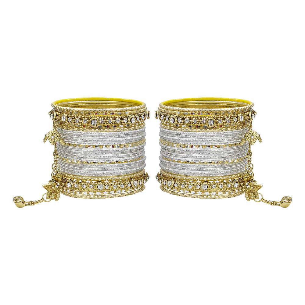 MUCH-MORE Gorgeous Collection Fashion Made Of Latkan Bangles for Women & Girls (Silver-Gold, 2.8)