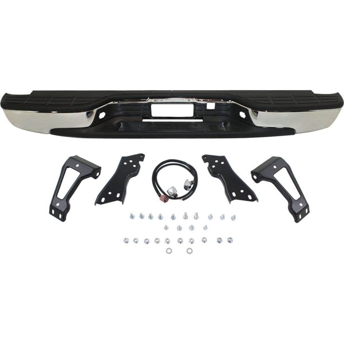 New Complete Chrome Rear Step Bumper Assembly for 1999-2006 Chevy Silverado GMC Sierra 1500 Truck GM1103122 Painted Tailgates MBI AUTO