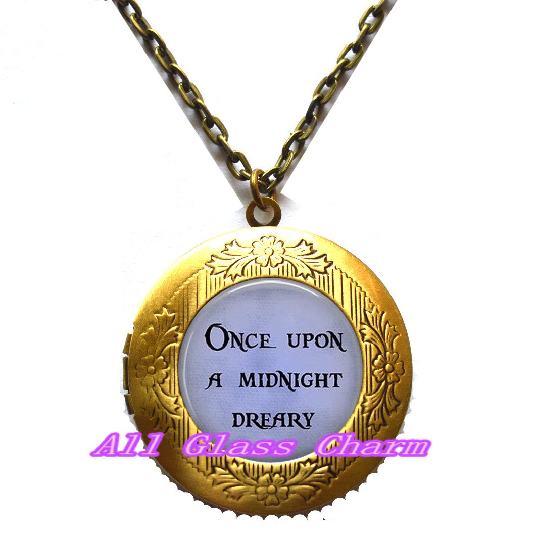 Halloween Jewelry Once Upon a Midnight Dreary Locket Necklace Locket Pendant or Locket Pendant or Bracelet Quoth the Raven Nevermore,AS0272