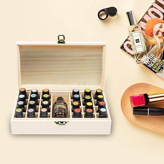 gouxia74534 Caja de Madera para aceites Esenciales, con Capacidad para 24 Botellas, Organizador Grande, Ideal para Guardar aceites, Cajas de Madera, Botellas de Aceite, Novia: Amazon.es: Hogar