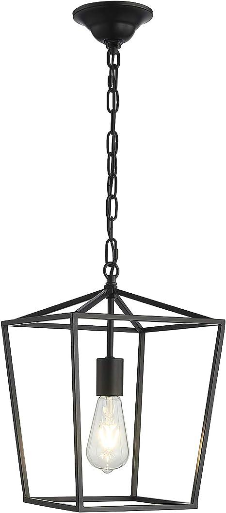 Amazon Com Anjiadengshi Vintage Lantern Pendant Light Lantern Iron 1 E26 Bulbs Lantern Chandelier For Dining Room Kitchen Matte Black Bulbs Not Included Home Kitchen