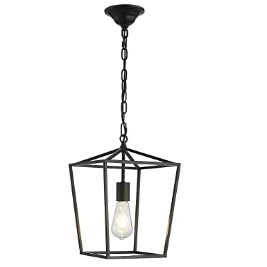 ANJIADENGSHI Vintage Lantern Pendant Light Lantern Iron Cage Adjustable Hanging Height with 1 E26 Bulbs Lantern Chandelier for Dining Room Bar Cafe, Matte Black