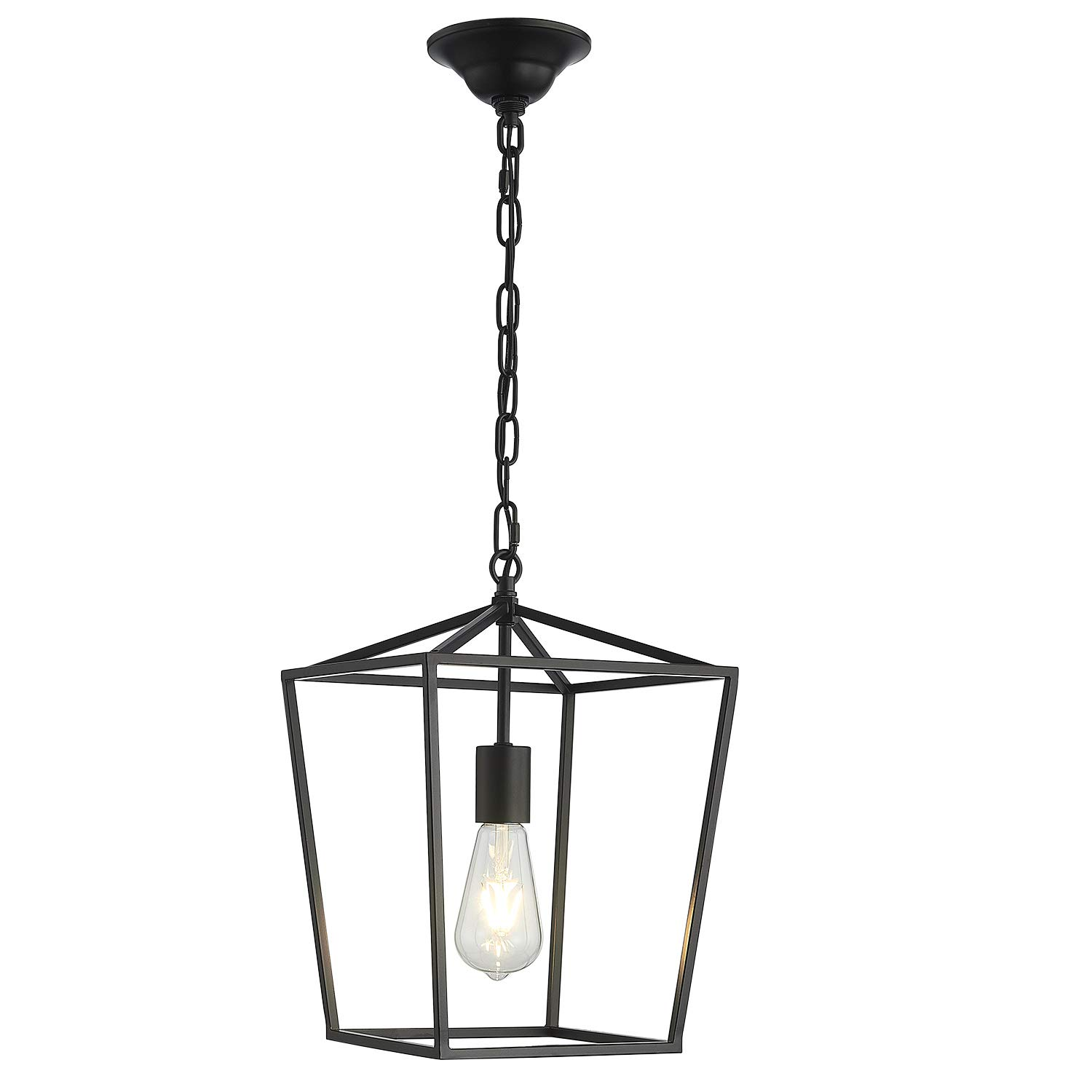 ANJIADENGSHI Lantern Pendant Light Industrial Vintage Lantern Iron Cage Hanging with 1 E26 Bulbs Lantern Chandelier for Traditional Dining Room Bar Cafe, Matte Black