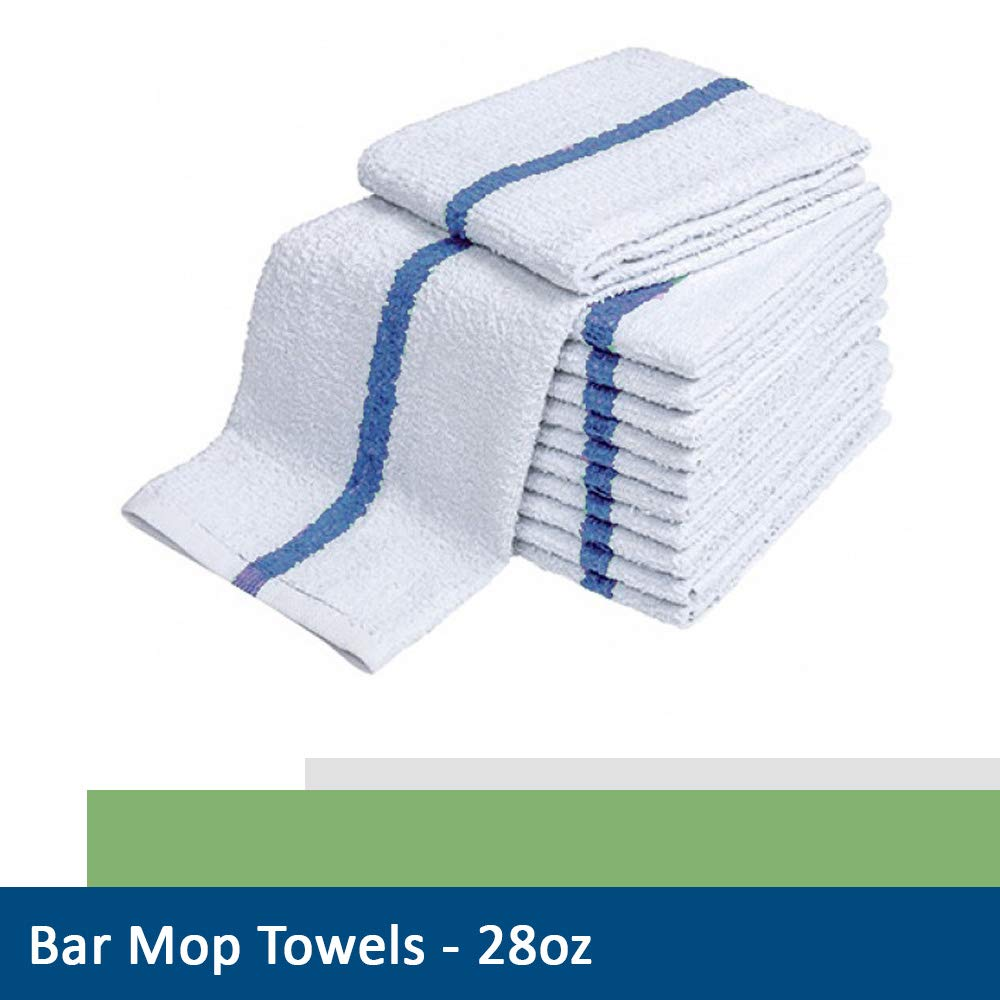 28oz Bar Mop Towels 16x19, 100% Cotton, Commercial Grade Professional Kitchen/Restaurant BarMop Towels (Blue Stripe-24 Pack) by Sara Glove