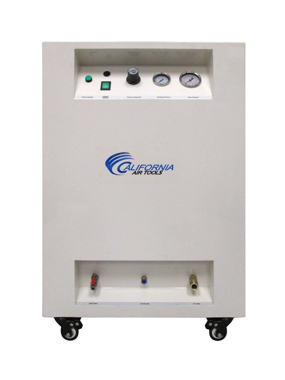California Air Tools 10020SPC Ultra Quiet & Oil-Free 2.0 hp Steel Tank Air Compressor in Sound Proof Cabinet, 10 gal, White California Air Tools- Home Improvement