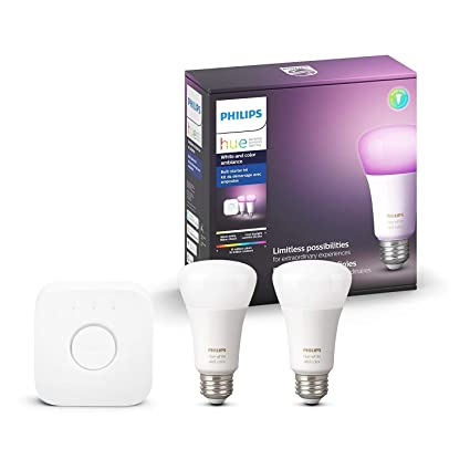 Philips 537019 Hue White & Colour Ambiance A19 2 Pack Starter Kit