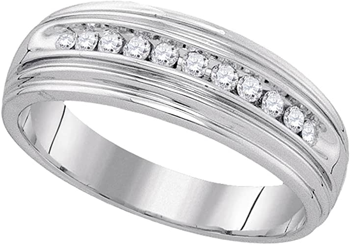 Sonia Jewels Size 10 925 Sterling Silver Mens Round Diamond Band