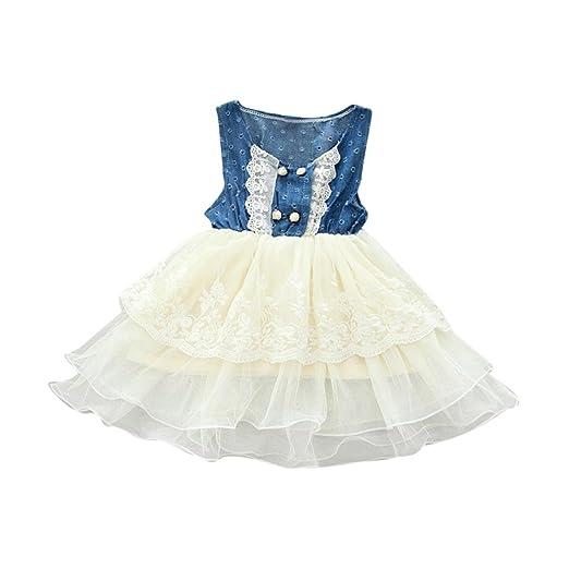 4cb7033dc7d5 Sagton Summer Kids Toddler Baby Girls Lace Dress Denim Tulle Splice Layered Tutu  Dress (18M