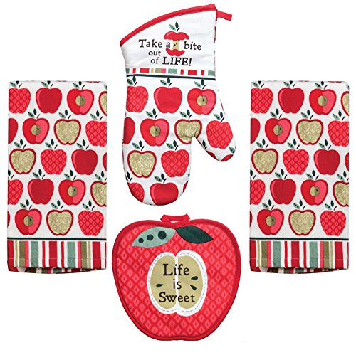 Kay Dee 4 Piece Kitchen Set - 2 Terry Towels, Oven Mitt, Potholder (Happy Apple)