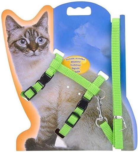 LA VIE Arnés Ajustable para Gatos y Cuerda de Seguridad de Nylon para Animales pequeños con Correa para Gatito Kitty para Caminar, Verde