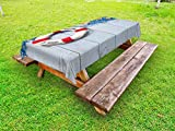 Ambesonne Buoy Outdoor Tablecloth, Welcome on Board Message on Lifebuoy with Fishing Net Seashell Wood Floor of Boat, Decorative Washable Picnic Table Cloth, 58 X 84 inches, Dust Blue Red