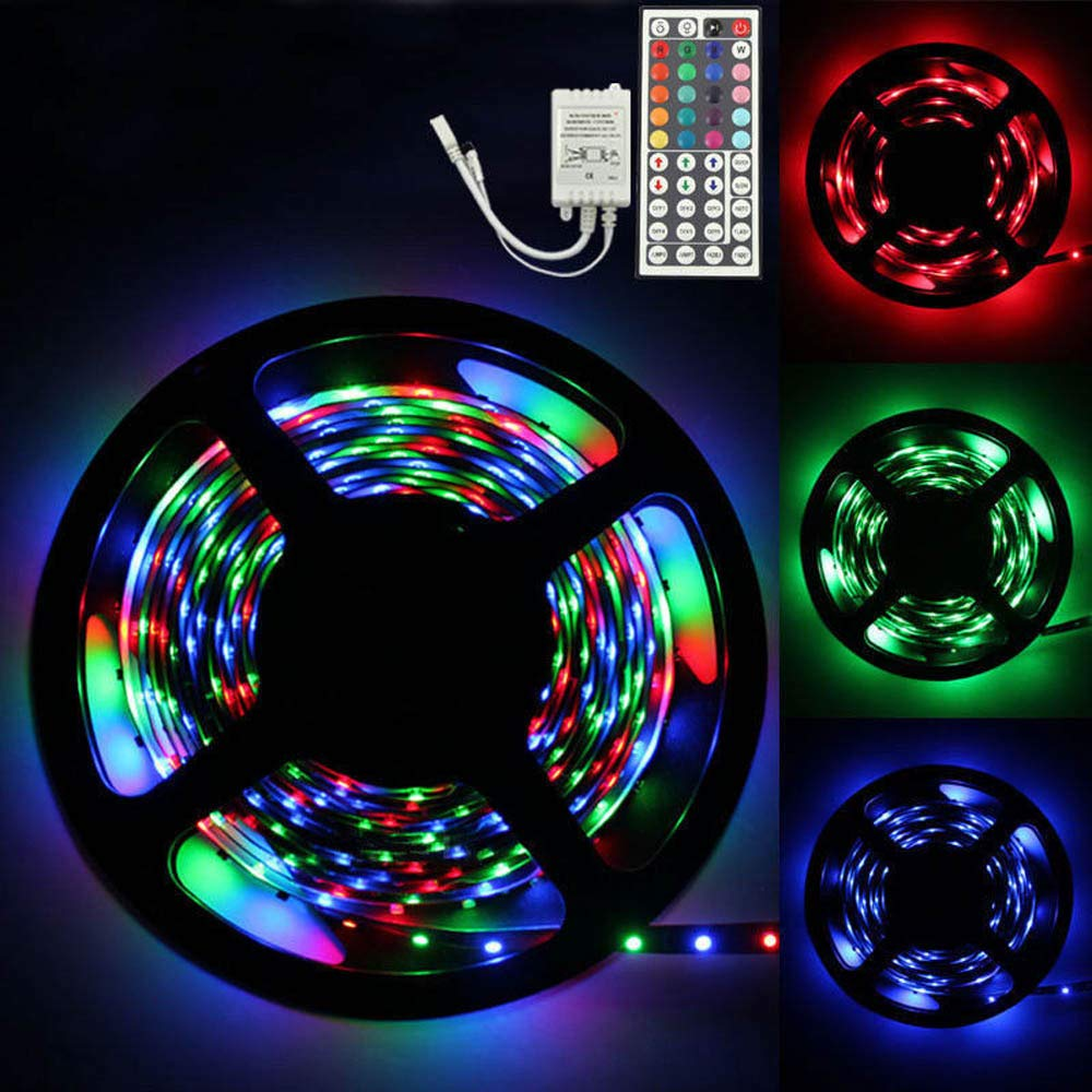 ABCOnline LED Strip Lights, 5M RGB 3528 Color Changing Rope Lights Non Waterproof LED SMD Strip Light Kit+44 Key IR Remote Controller (5M, Colorful)