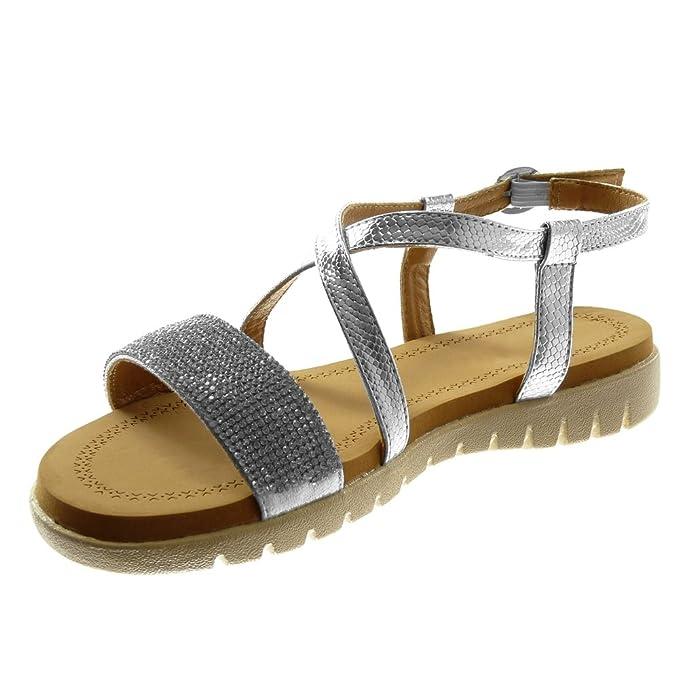 Angkorly - Chaussure Mode Sandale lanière cheville femme multi-bride strass diamant peau de serpent Talon plat 2.5 CM - Champagne - jEH4Rr