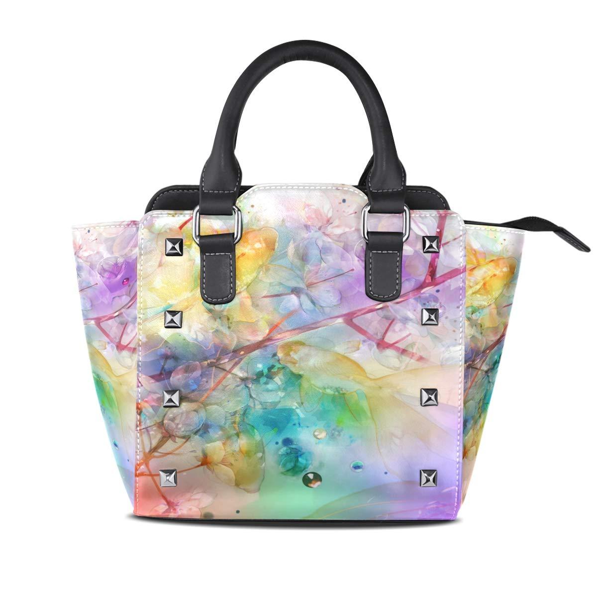 Design1 Handbag Coloful Halo Flower Carp Genuine Leather Tote Rivet Bag Shoulder Strap Top Handle Women