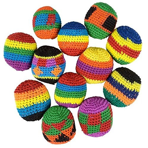 Hacky Sack Footbags Bulk Guatemalan Style Assorted Color Woven Kickball Lot (Pack of 12) - iGifts Inc.
