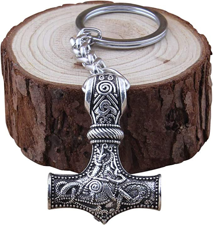Schlüsselanhänger Thors Hammer Wikinger Drachen Sonne Mjölnir Vikings Nordisch Thor Koffer Rucksäcke Taschen