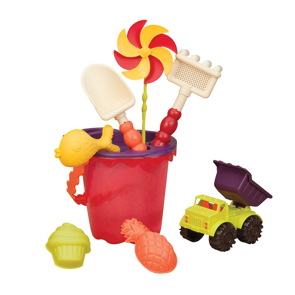 B. toys – Sands Ahoy – Beach Playset - Medium Bucket Set (Mango) with 9 Unique Sand & Water Toys –Phthalates and BPA Free – 18 m+