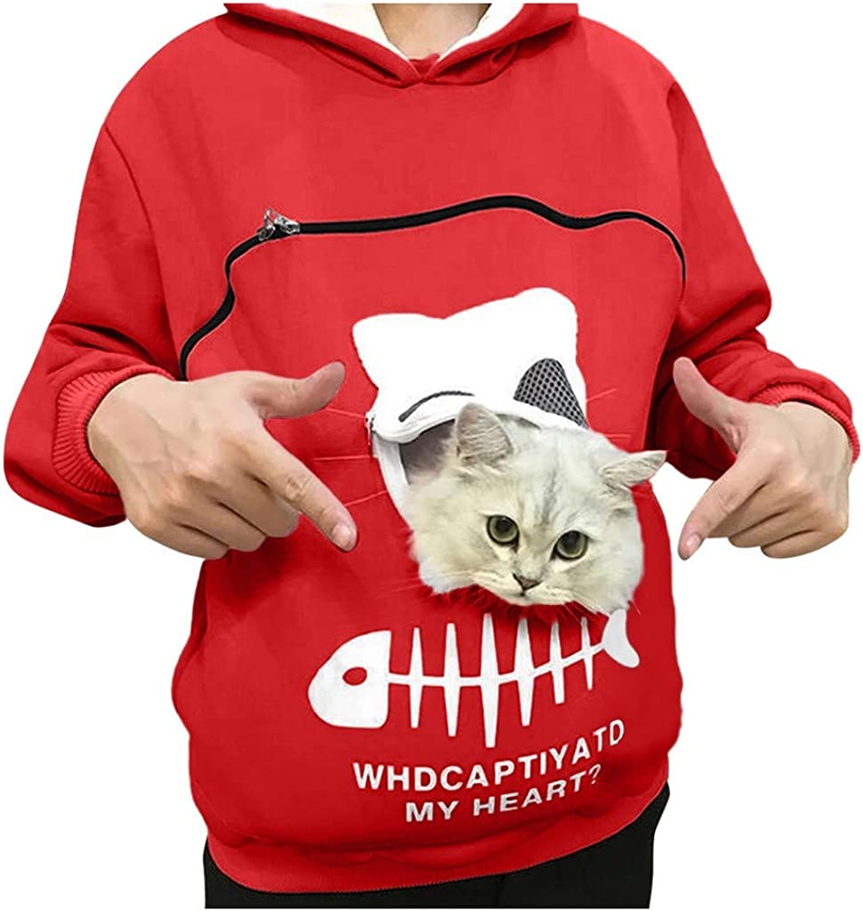 Small Animal Pouch Holder Hoodie for Women Pet Dog Cat Carrier Sweatshirt for Men Kitty Puppy Holder