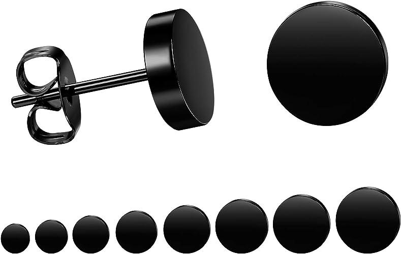Black Round Stud Earrings Set Stainless Steel Circle Ear Studs for Men Women