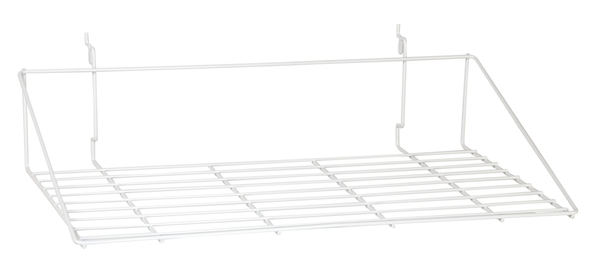 KC Store Fixtures A03063 Double Shirt Shelf Fits Slatwall, Grid, Pegboard, 23-1/2'' W x 13-1/2'' D, White (Pack of 10)