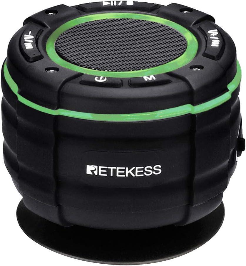 Retekess TR622 Bluetooth Altavoz, Radio de Ducha Impermeable IP67, Altavoz Estéreo Antipolvo, Espectáculo de Luces de Siete Colores, Recargable, Apto para Baño, Fiesta, Playa, Viajes