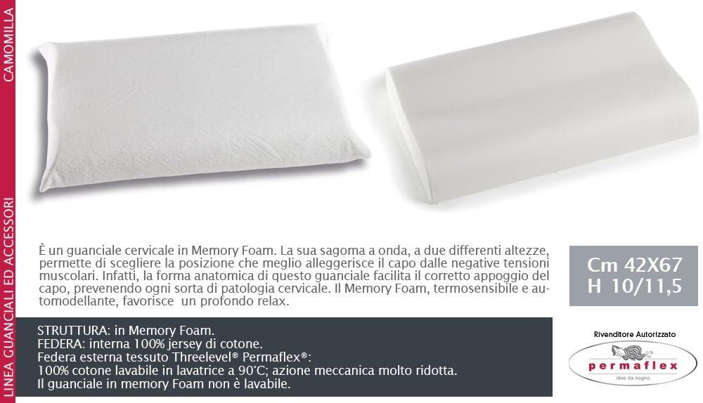 Cuscini Permaflex Memory.Permaflex Camomilla Guanciale A Due Altezze Memory Foam Amazon It