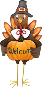 "Grace Home Metal Turkey Lawn Stake, Thanksgiving Yard Décor with Pumpkin Welcome Sign,Fall Harvest Autumn Thanksgiving Lawn Yard Outdoor Garden Decorations 23"" H"