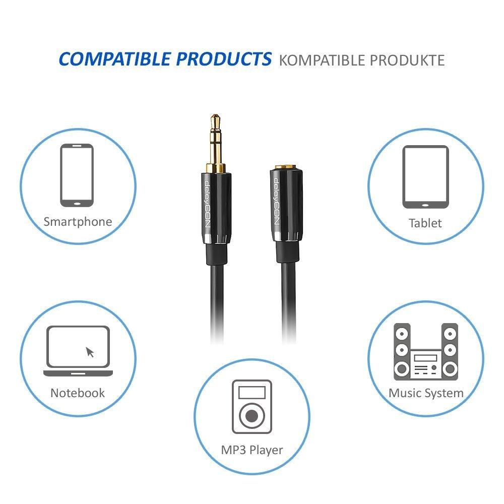 Nero deleyCON 15m Prolunga per Jack Audio Stereo Cavo AUX Tappo in Metallo Presa Jack da 3,5mm a Jack da 3,5mm