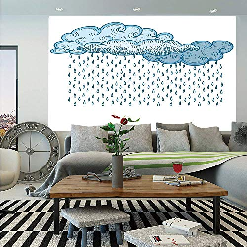 Farmhouse Decor Wall Mural,Funk Style Cute Cloud Forms Made with Spiral Lines Twister Cyclone Drawing Print,Self-Adhesive Large Wallpaper for Home Decor 83x120 - Shield Face Cyclone